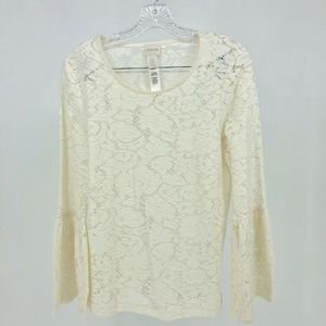 Chico's Top Women Size Small Lace Pullover Ivory S